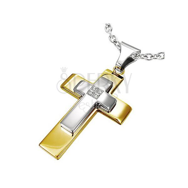 Stalowa zawieszka - dwukolorowy podwójny krzyż, osadzone bezbarwne cyrkonie
