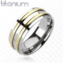 Tytanowa obrączka - srebrna, dwa złote pasy