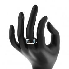 Tungsten pierścionek - niebiesko-srebrna obrączka, cyfry rzymskie