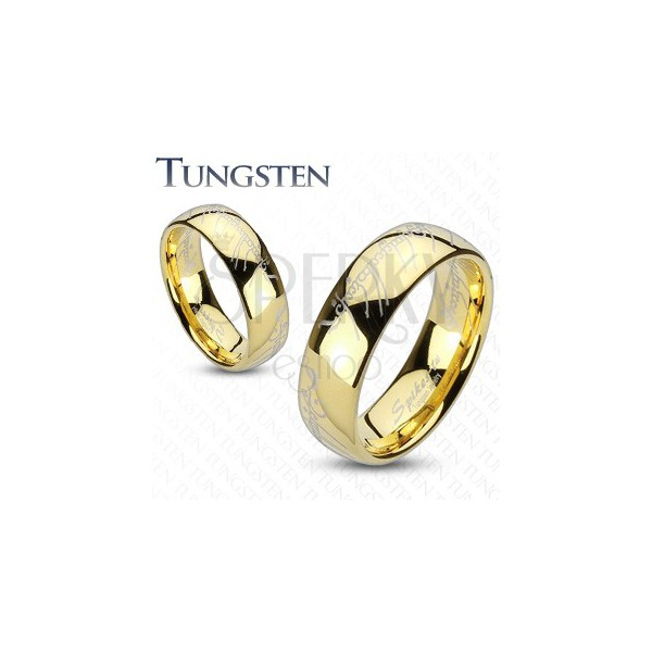 Wolframowa obrączka - złota, styl Władcy Pierścieni