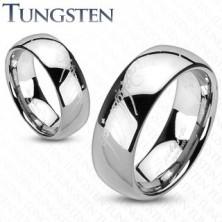 Obrączka z wolframu - srebrna, styl Władcy Pierścieni
