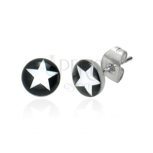Okrągłe kolczyki - biała gwiazda