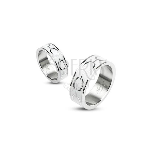 Stalowy pierścionek - biały środek z elipsami