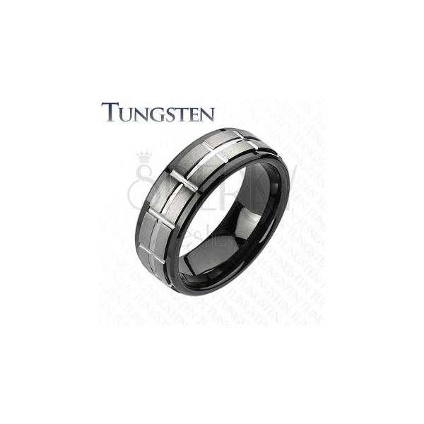 Tungsten szlifowana obrączka, czarne krawędzie