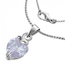 Naszyjnik - cyrkoniowe fioletowe serce na łańcuszku