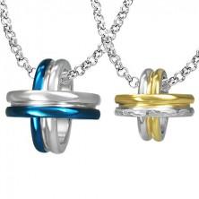 Zawieszki dla pary - niebieskie, złote i srebrne koła