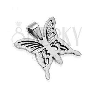 Zawieszka ze stali chirurgicznej - srebrny motyl