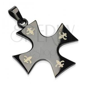 Zawieszka ze stali chirurgicznej - krzyż w kolorze czarnym, Fleur de Lis