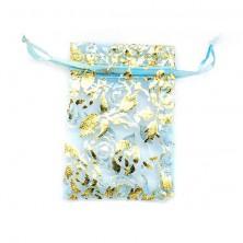 Woreczek prezentowy jasnoniebieski - złote różyczki