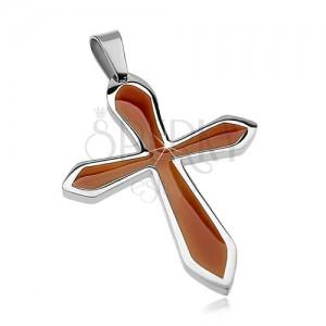 Zawieszka ze stali chirurgicznej w kształcie krzyża z imitacją drewna