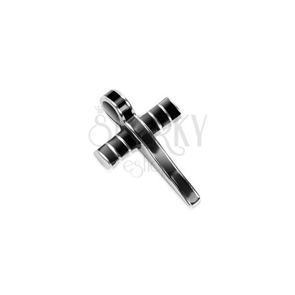 Stalowa zawieszka - masywny krzyż ozdobiony czarną emalią