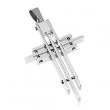 Zawieszka ze stali chirurgicznej, krzyż poskładany z cienkich prostokątów