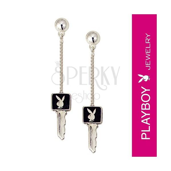 Kolczyki z zajączkiem Playboy - klucz na łańcuszku