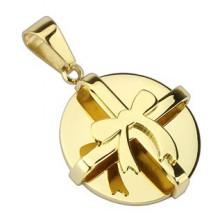 Stalowa zawieszka - złoty okrągły prezent z kokardką