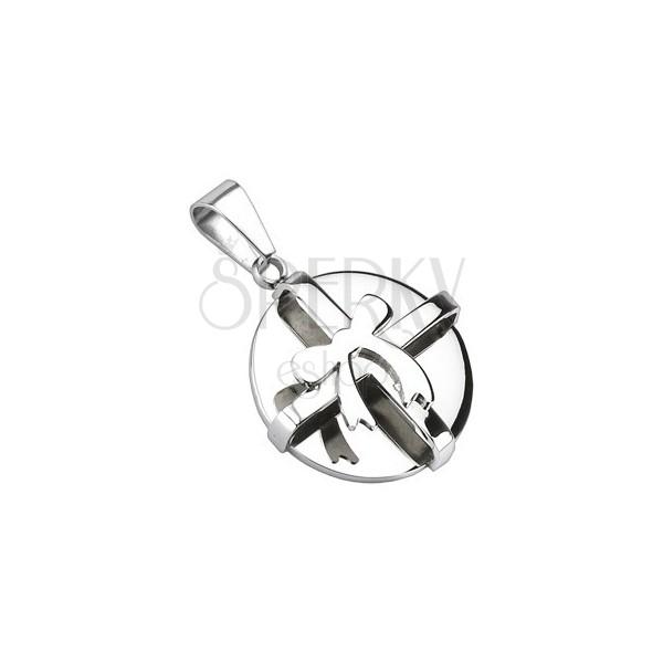 Stalowy wisiorek - srebrna okrągła paczuszka z kokardką