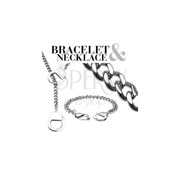 Zestaw łańcuszków - naszyjnik i bransoletka z kajdankami