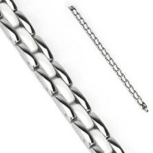 Stalowa bransoletka - białe i srebrne podłużne segmenty