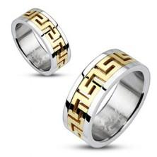Srebrny stalowy pierścionek - złoty grecki motyw