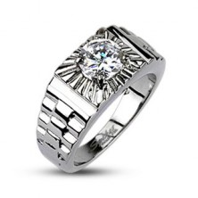 Stalowy pierścionek - srebrne promienie, styl zegarka