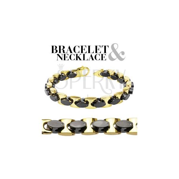 Masywny stalowy zestaw - złote i czarne owale