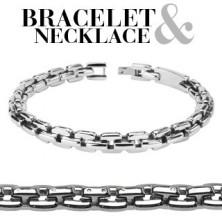Zestaw - stalowy łańcuszek i bransoletka, połączone prostokątne elementy