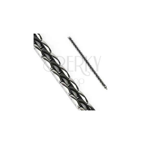 Stalowa bransoletka - czarne i srebrne ogniwa w pasach