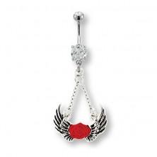Piercing brzuszka anielskie skrzydła i czerwona róża