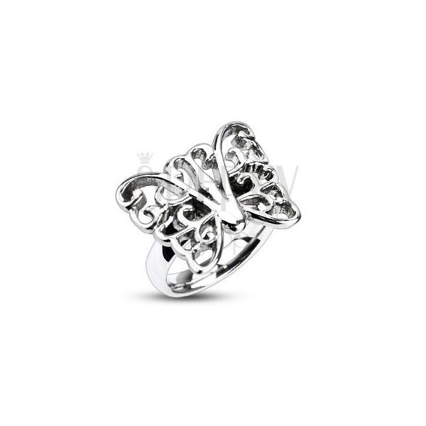 Pierścień ze stali - duży zdobiony motyl