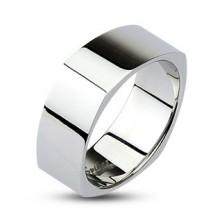 Kanciasta stalowa obrączka - lśniąca srebrna powierzchnia