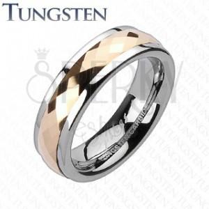 Tungsten pierścionek - ruchomy środkowy pas z różowym złotem