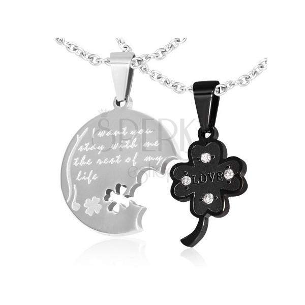 Zawieszki dla dwojga - koniczyna, okrągły medalik, napis, cyrkonie