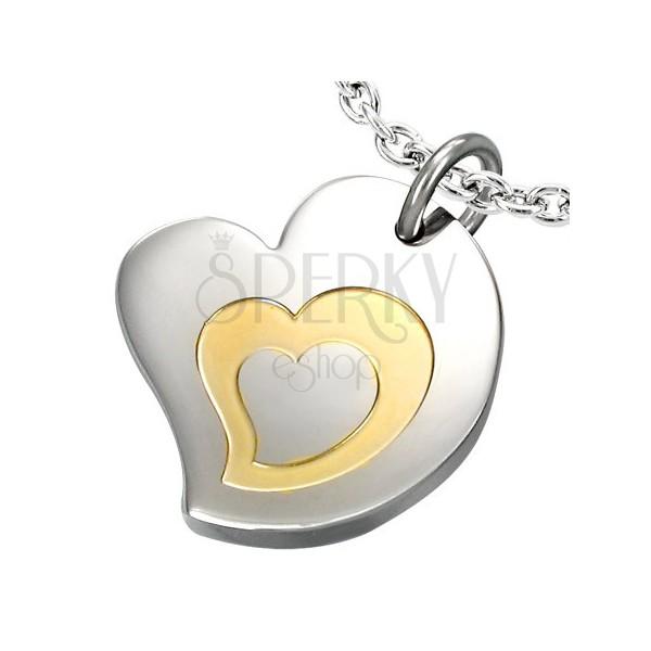 Dwukolorowa zawieszka ze stali chirurgicznej, wzór - potrójne serce
