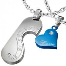 Zawieszki dla dwojga - serce, medalik, miłosne napisy, srebrna i niebieska
