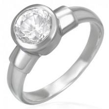 Stalowy pierścionek z dużym cyrkoniowym oczkiem w metalowej oprawie