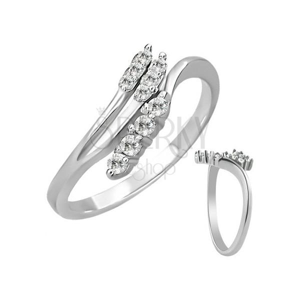 Stalowy pierścionek - rozgałęzienie z cyrkoniami