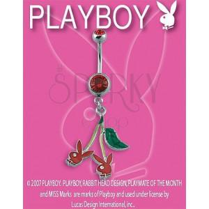 PLAYBOY piercing belly ring z czereśniami Bunny
