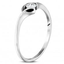 Stalowy zaręczynowy pierścionek - cienkie zakrzywione ramiona, okrągła bezbarwna cyrkonia