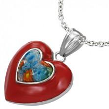 Emaliowany stalowy wisiorek - czerwone serce, kwiat Millefiori