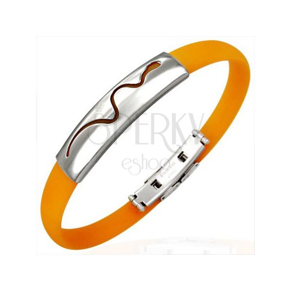 Pomarańczowa gumowa bransoletka - pełznący wąż