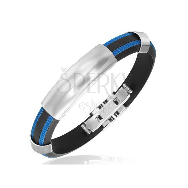 Gumowa bransoletka - niebieskoczarna, gładka stalowa wstawka
