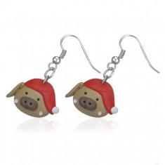 Kolczyki fimo - świnka w czerwonej czapce