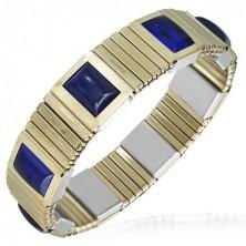 Rozciągliwa stalowa bransoletka - złote ogniwa, niebieskie kamyczki