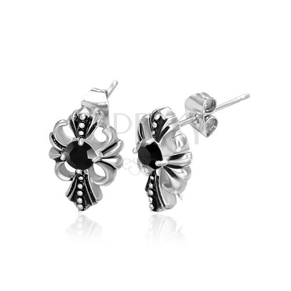 Stalowe kolczyki - krzyż Fleur de Lis, czarna cyrkonia