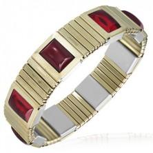 Rozciągliwa stalowa bransoletka - wąskie złote ogniwa, czerwone kamyczki