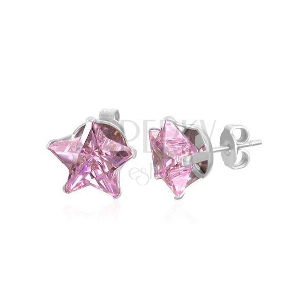 Sztyfty - różowa cyrkoniowa gwiazda, 10 mm