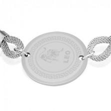 Stalowa bransoletka - znak zodiaku, Lew, pleciony pasek