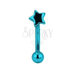 Kolczyk do brwi tytanowy anodyzowany - niebieska gwiazda