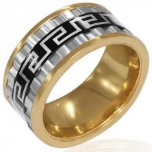 Masywny trójkolorowy pierścionek ze stali - trzy obrotowe pasy