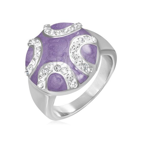 Stalowy pierścień - wypukłe fioletowe koło, cyrkoniowe półksiężyce