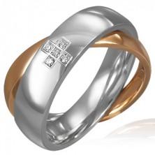 Podwójny stalowy pierścionek - cyrkoniowy krzyż, złoty i srebrny